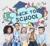 De volta ao conceito do estudo dos Academics da educação escolar foto de stock royalty free