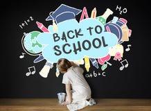 De volta ao conceito do estudo dos Academics da educação escolar imagens de stock royalty free