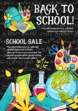 De volta ao esboço da venda dos artigos de papelaria do vetor da escola ilustração do vetor