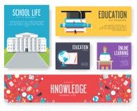 De volta ao grupo da escola de cartões as ilustrações projetam o folheto Fotos de Stock Royalty Free