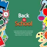 De volta ao grupo do ícone do tema da escola no contexto Textured quadro Artes e etiquetas da ciência Conceito da instrução ilustração stock
