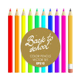 De volta ao grupo do vetor dos lápis da cor da escola Foto de Stock