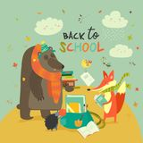 De volta ao illustaration da escola com os animais bonitos da floresta Fotos de Stock Royalty Free