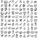 De volta ao jogo do Doodle da escola Vário material da escola - fontes para s ilustração royalty free