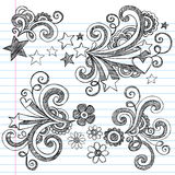 De volta ao jogo esboçado do vetor dos Doodles da escola Imagens de Stock Royalty Free