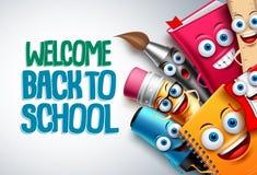 De volta ao molde do fundo dos caráteres do vetor da escola com as mascote engraçadas dos desenhos animados da educação ilustração do vetor
