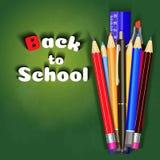 De volta ao projeto da bandeira da venda da escola no fundo vermelho com artigos e objetos da escola para a loja desconte a promo Foto de Stock Royalty Free