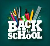 De volta ao projeto do vetor da escola com artigos do título 3d e da escola ilustração do vetor