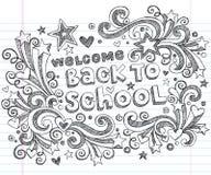 De volta ao projeto esboçado do vetor dos Doodles da escola Fotos de Stock