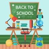 De volta ao quadro da bandeira de escola e à tabela do aluno Ilustração lisa do vetor Conceito da educação escolar Vetor Imagem de Stock