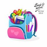 De volta ao saco do rosa da escola Foto de Stock Royalty Free