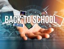 De volta ao título da escola cercado pelo dispositivo goste do smartphone, tabuleta Imagem de Stock
