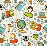 De volta ao teste padrão sem emenda da educação dos ícones da escola. Fotos de Stock