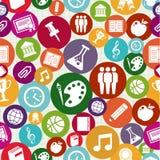 De volta ao teste padrão sem emenda da educação dos ícones da escola. Foto de Stock Royalty Free