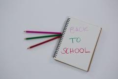 De volta ao texto de escola escrito no livro espiral Imagem de Stock Royalty Free