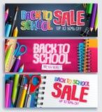 De volta ao vetor do fundo da promoção da venda da escola e do disconto da educação ilustração royalty free