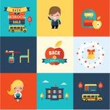 De volta aos ícones da escola Imagens de Stock