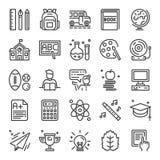 De volta aos ícones perfeitos do pixel da escola Foto de Stock Royalty Free
