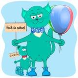 De volta aos desenhos animados do gato da escola ilustração do vetor