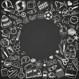 De volta aos doodles da escola imagens de stock royalty free