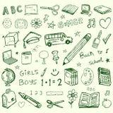 De volta aos doodles da escola ajustados Imagens de Stock Royalty Free