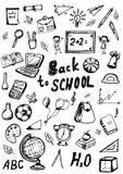 De volta aos doodles da escola ajustados Fotos de Stock Royalty Free