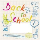 De volta aos doodles da escola - etiqueta Fotografia de Stock Royalty Free