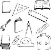 De volta aos elementos da escola no estilo dos desenhos animados Ilustração Grande para o cartão, cartaz, cópia ilustração stock