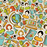 De volta da educação colorida dos ícones da escola ao teste padrão sem emenda. Imagem de Stock Royalty Free