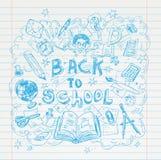 De volta à escola rabisca elementos, grupo de etiquetas e ícones Ilustração do vetor Fotos de Stock Royalty Free