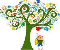 De volta à escola - árvore com ícones da instrução Fotografia de Stock Royalty Free