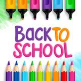 De volta às palavras do título da escola escritas em um papel de desenho branco Fotos de Stock