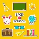 De volta a verde ajustado da coleção da etiqueta do ícone da escola ilustração do vetor
