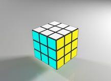 De voltooide rubic 3d kubus van ` s - geef terug Stock Foto