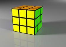De voltooide rubic 3d kubus van ` s - geef terug Stock Afbeelding