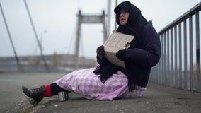 De volwassen dakloze vrouw met karton zit op de brug in koud winderig grijs weer vragend om aalmoes en hulp stock footage