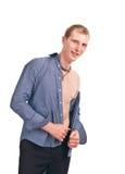 De volwassen kerel in een blauw gestreept overhemd isoleert Royalty-vrije Stock Afbeelding