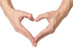 De volwassen mannelijke handen toont hartvorm Stock Fotografie