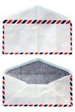 De voor en achter, oude enveloppen waren open isoleren Stock Foto
