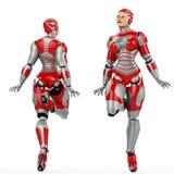 De voor en achtermening van de VROUWENrobot Stock Fotografie
