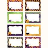 De Voor het drukken geschikte Geplaatste etiketten van Halloween Fotokader, Giftmarkeringen, Uitnodiging stock illustratie