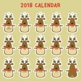 De voor het drukken geschikte Kalender van 2018 Leuke het Beeldverhaalvector van de Rendier 2018 Kalender Stock Afbeeldingen