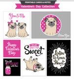 De voor het drukken geschikte reeks van de valentijnskaartendag met grappige pugs Royalty-vrije Stock Afbeelding