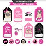 De voor het drukken geschikte reeks van de valentijnskaartendag met grappige pugs Stock Afbeelding