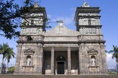 De voor Kerk van de Ingang van Palmares in Costa Rica stock foto