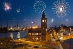 De vooravond Hamburg van het nieuwjaar stock foto's