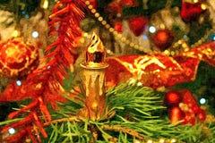 De vooravond van het fabelachtige nieuwe jaar Kerstmisstuk speelgoed Het nog-leven van Kerstmis Het schilderen van natte waterver royalty-vrije illustratie