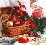 De vooravond van het fabelachtige nieuwe jaar Kerstmisstuk speelgoed Het nog-leven van Kerstmis Het schilderen van natte waterver stock illustratie