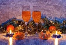 De vooravond van het fabelachtige nieuwe jaar Het nog-leven van Kerstmis Het schilderen van natte waterverf op papier Naïef art T stock illustratie