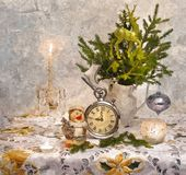 De vooravond van het fabelachtige nieuwe jaar Uitvoering van wensen Het Stilleven van Kerstmis Het schilderen van natte waterverf stock illustratie